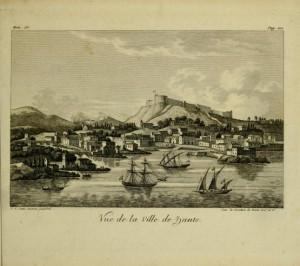 Ζάκυνθος, Άποψη της χώρας, τέλη 18ου αι, από το έργο του André Grasset Saint-Sauveur, Voyage historique, vol. III, Paris 1820