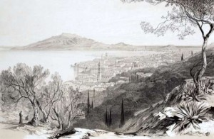 Edward Lear, Άποψη της Ζακύνθου και στο βάθος του Σκοπού, ακουαρέλα, γύρω στο 1863.
